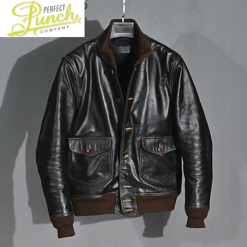 جلد طبيعي سترة الرجال Vintage 100% البقر سترة الربيع الخريف معطف جلد طبيعي الرجال الملابس الطيران جاكيتات KJ4813