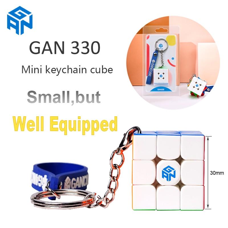 Cubo llavero GAN330 Original gans 3x3 Mini 30mm Cubo de velocidad sin pegatina de bolsillo GAN 330 rompecabezas cubo profesional juguete educativo
