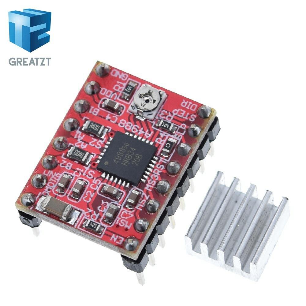 Greatzt cnc peças de impressora 3d acessório reprap pololu a4988 módulo motorista do motor deslizante com dissipador calor para rampas 1.4