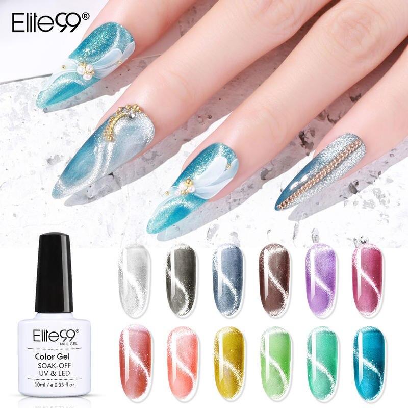 Elite99 10ml 9D Crystal Snowlight Cat Eye Gel Polish Soak Off Magnetic Nail Gel Polish Hybrid Varnishes For Nail Art Manicure