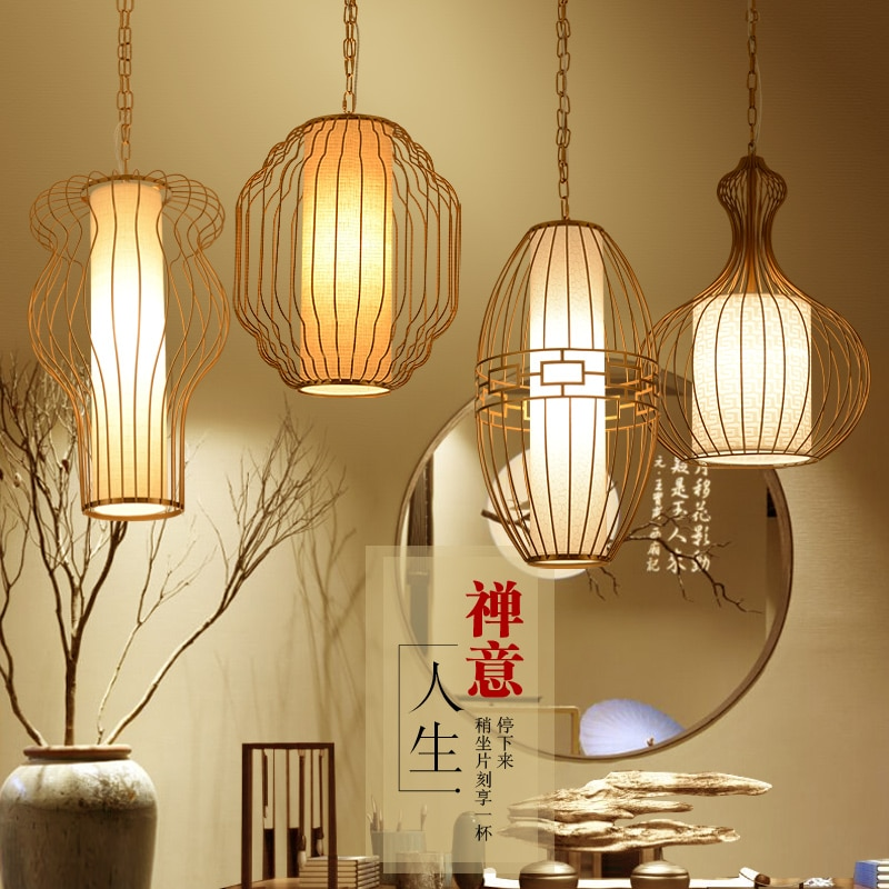 Jaula de luz colgante bar restaurante comida pasillo porche creativo el nuevo moderno restaurante chino Zen lámpara colgante ya72728