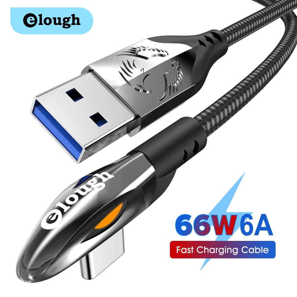 Elough USB Type C Cable 90 Degree 6A Fast Charging For Xiaomi Samsung Redmi Huawei 66W Mobile Phone