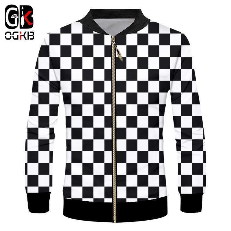 Куртка OGKB мужская с длинным рукавом, повседневная приталенная, с воротником-стойкой, на молнии, с 3D рисунком, в черную и белую клетку, верхняя...