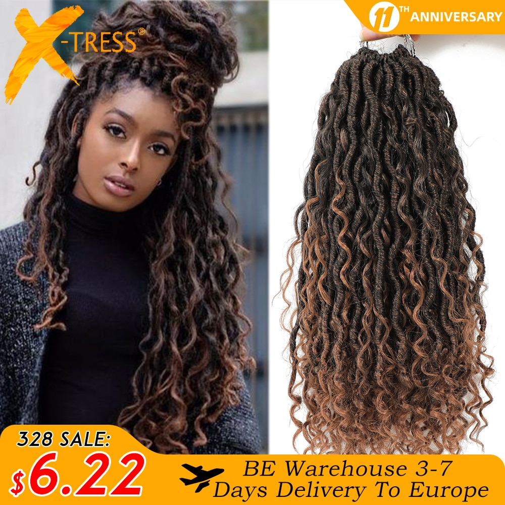 AliExpress - Synthetic Crochet Braids Hair Passion Twist River Goddess Braiding Hair Extension Ombre Brown Faux Locs With Curly Hair X-TRESS