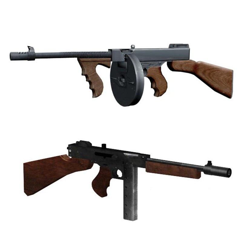 11 Thompson M1928 pistola DIY 3D Tarjeta de papel modelo Construcción Juegos Juguetes juguetes educativos modelo militar