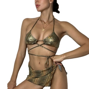 Sexy Women 3PCS Bikini Set Halter Lace-up Bras Top Snake Skin Print Hollow Out Lace-up Bottoms Cover Ups Bathing Suit