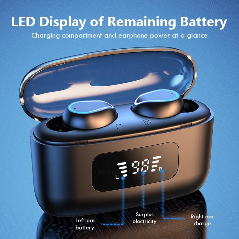 TWS Bluetooth 5.0 Earphones 2200mAh Charging true Wireless Headphone 9D Stereo Sports Waterproof Ear
