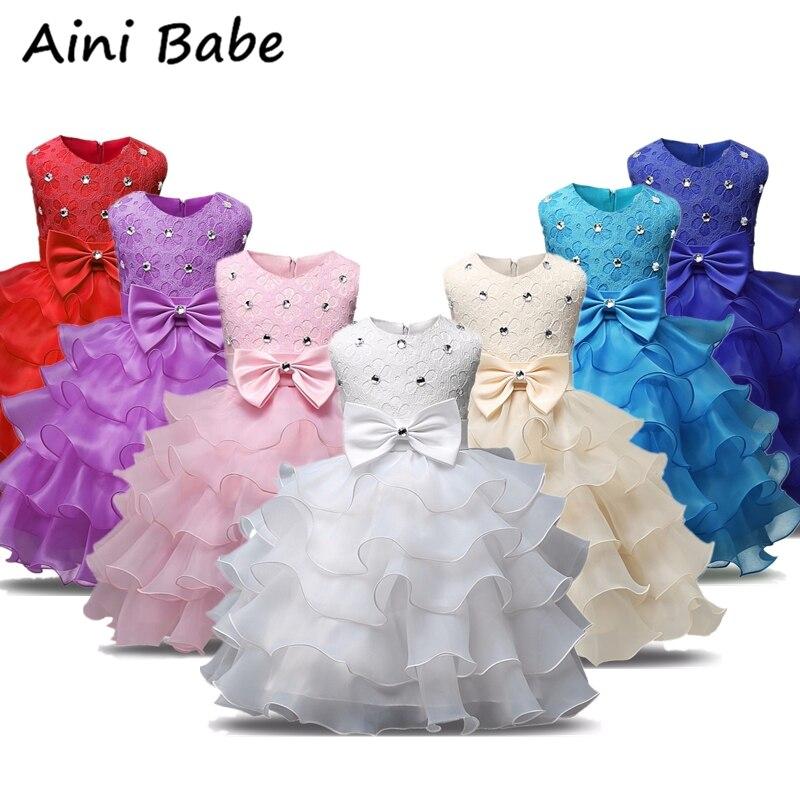 Baby Girl Holy Communion Dress Kids Birthday Party Vestido White Tutu Ball Gown Fancy Flower Princess Dress Baby Baptism Costume