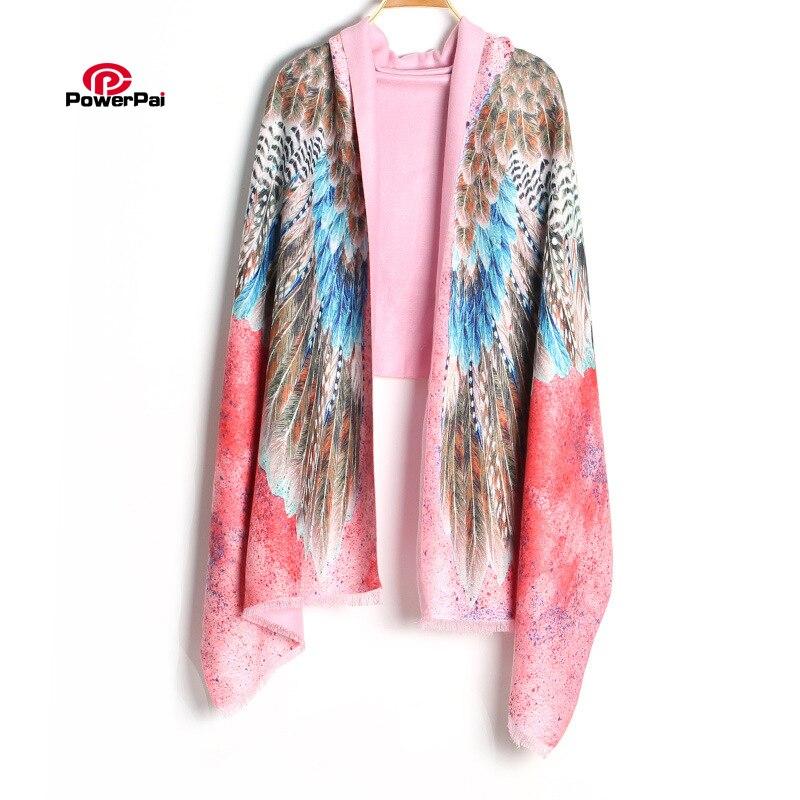 Novedad moda Impresión Digital águila Cachemira bufanda larga Mujer pluma chal bufanda Pashmina envoltura 190cm