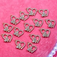 10pcs golden love heart shape butterfly metal charms mini bling rhinestone jewelry accessories for gift making earring necklace