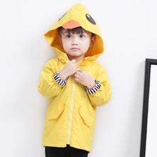 COOTELILI Cute Duck Girls Boys Long Windbreaker Children Clothing Hooded Autumn Jacket For Girls Coa