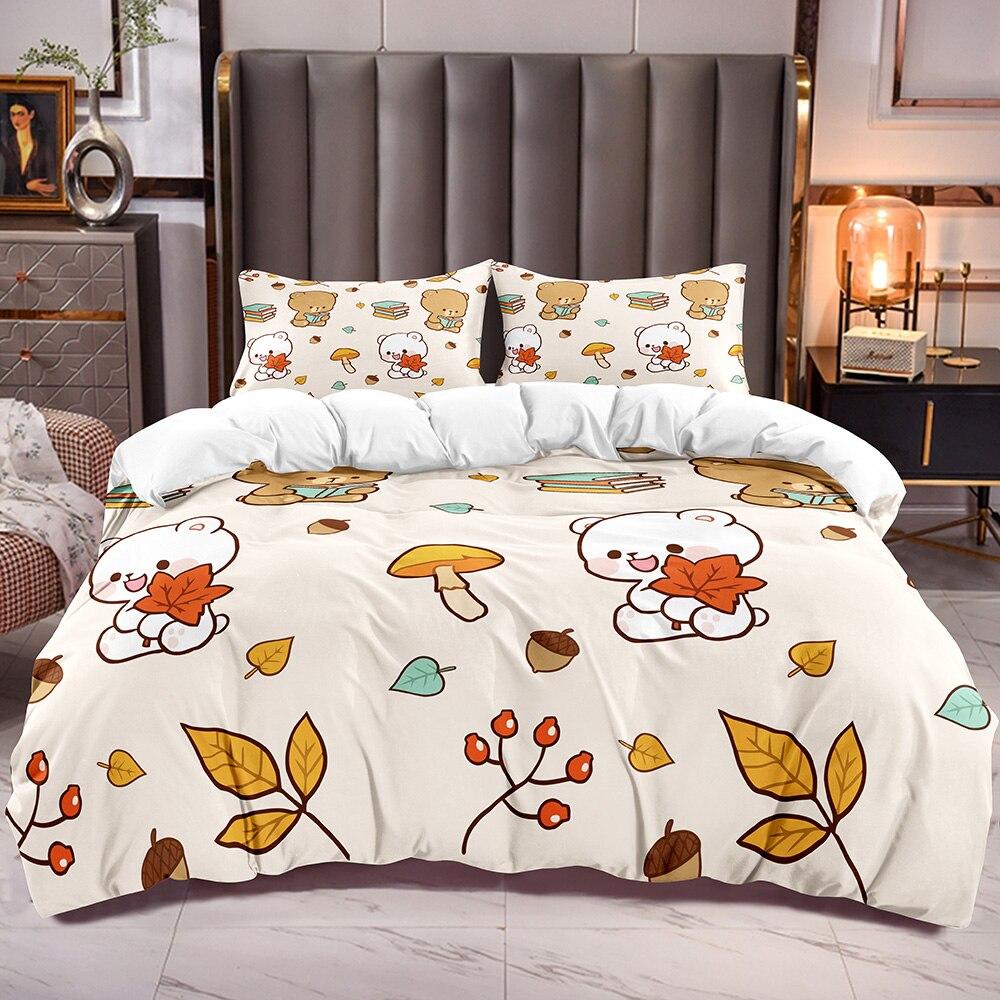 لطيف الدب طباعة الاطفال حاف الغطاء مع غطاء المعزي مع ورقة البندق مشهد الكرتون نمط بنين بنات طقم أغطية لحاف