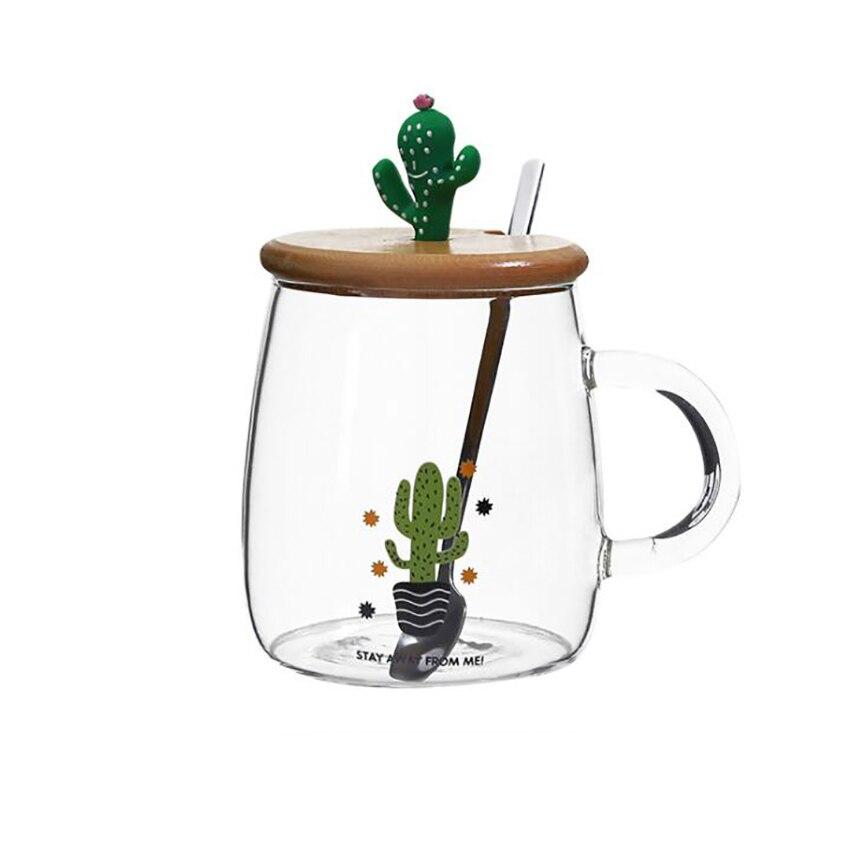 Купить с кэшбэком Cute Cactus Tea Mug with Wooden Lid and Spoon Borosilicate Glass Coffee Mug 450ml Clear Drinking Cup for Fruit Juice, Coffee Tea