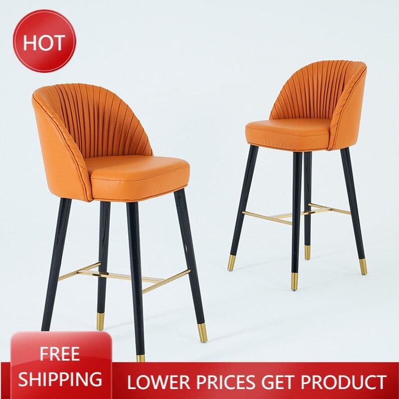 Скандинавские обеденные стулья, промышленные минималистичные Роскошные обеденные стулья для бара, высокие кухонные табуреты, барная стойк... табуреты экокожа