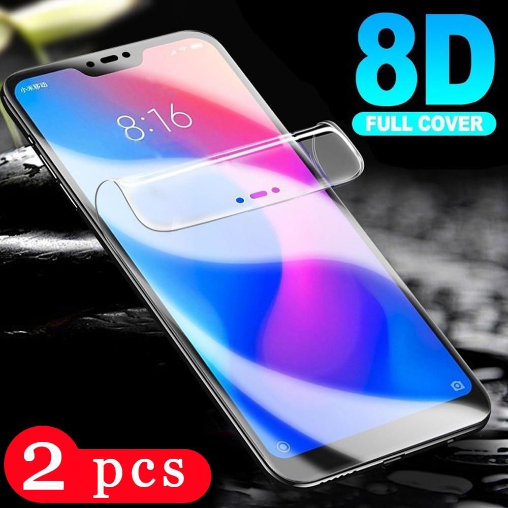 2 uds 9D suave cubierta completa para xiaomi mi A3 lite A2 lite hidrogel película protector de pantalla del teléfono no película protectora de cristal smartphone
