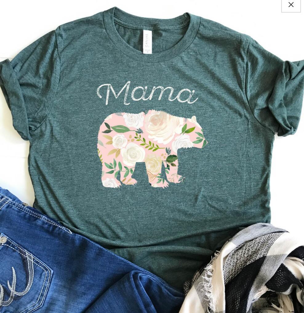 Hillbilly Mama Bear Kawaii camiseta de gran tamaño gráfico camisetas de verano de manga corta de algodón divertidas Tops Regalo para mamá camiseta mujer tipo Tumblr