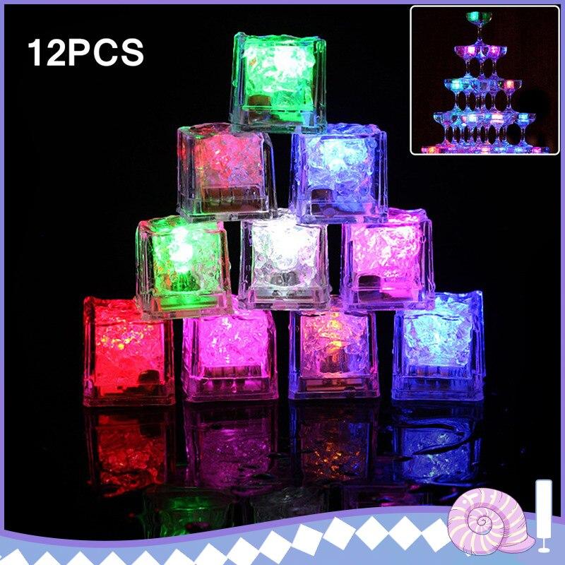 12 Uds cubos de hielo LED luces LED Multicolor Sensor de líquido cubos de hielo LED resplandeciente luz para Bar Club fiesta de boda Champagne