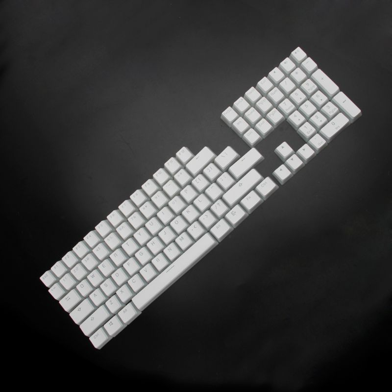 RGB 108 كيكابس ANSI تخطيط PBT الأبيض بودنغ مزدوج الجلد الحليب النار الخلفية كيكاب ل OEM الكرز MX gh60 بوكر 87 tkl 104 108