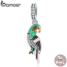 BAMOER, Настоящее серебро 925 пробы, восхитительный попугай, красочная эмаль, ослепительные CZ подвески, подходят для женщин, браслеты, ювелирные изделия S925 SCC218