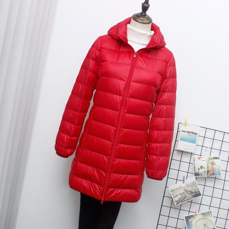 Autumn Winter M-7XL Women Down Jacket Ultra Light White Duck Down Long Coat with Hood Thin Slim Warm Outwear Plus Size AE724