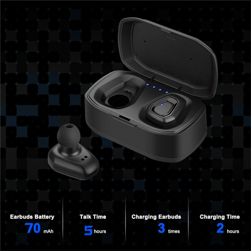 A7 TWS سماعة بلوتوث لاسلكية ، سماعة رأس رياضية ستيريو بدون استخدام اليدين مع صندوق شحن لأجهزة iphone و Android PK X2T i7/i7s