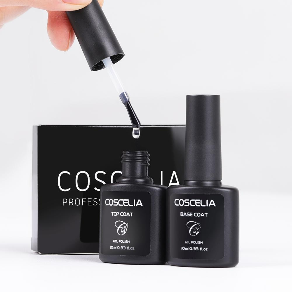 COSCELIA Top Base Coat Set 10ML For Gel Nail Polish For Manicure Semi Permanant UV Gel Varnish For Nail Art Matte Top Remover