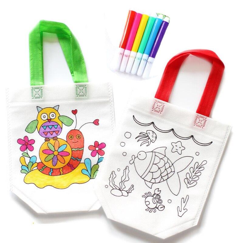 5 шт., Детские ручные цветные сумки с безопасной ручкой для воды, Детские Обучающие Развивающие игрушки для рисования, набор для подарки для мальчиков девочек