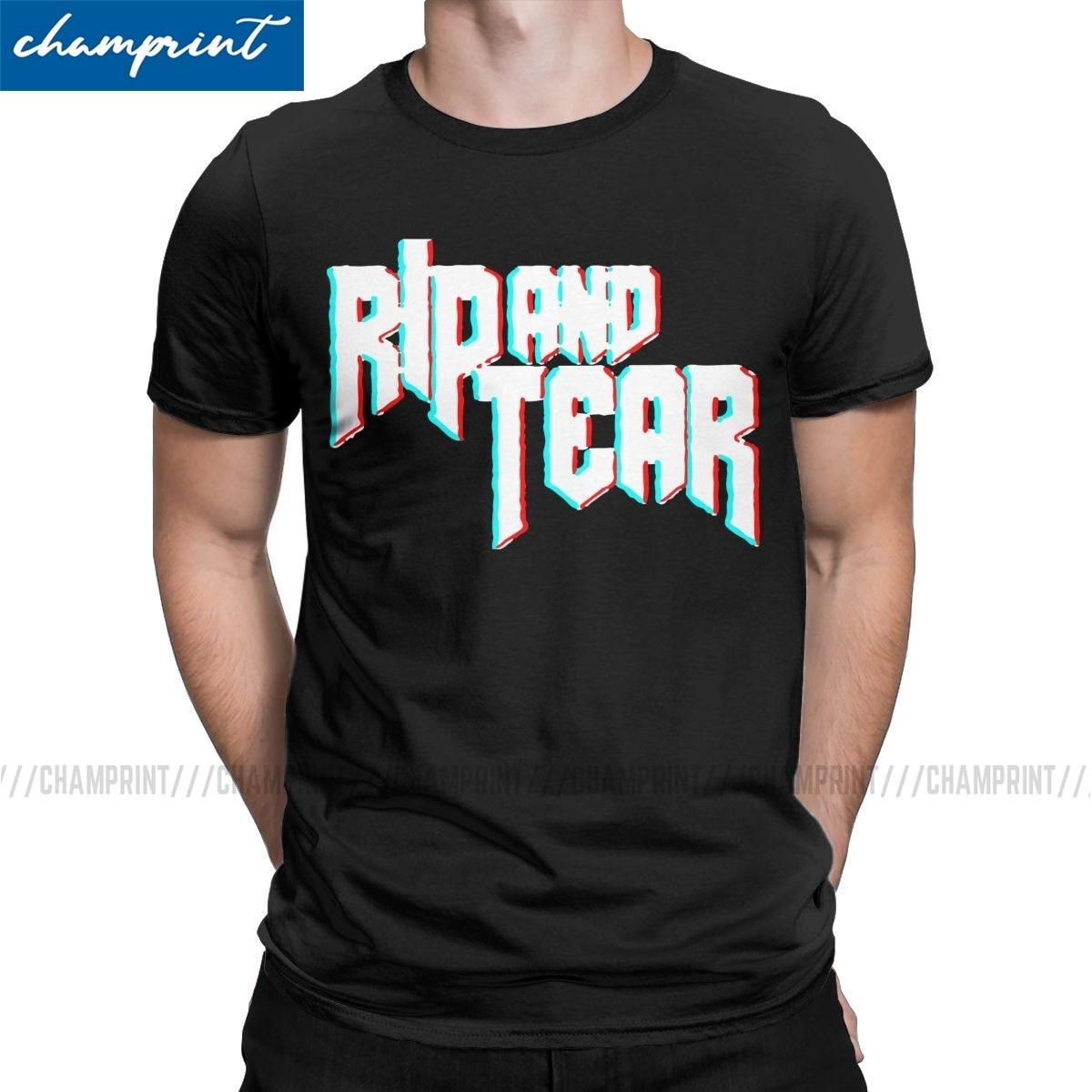Rip And Tear Doom Eternal t-shirts hombres algodón novedad camiseta Doomguy Doom Slayer Cacodemon Tees de manga corta ropa regalo Idea