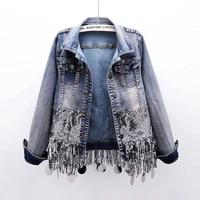 heavy work sequins tassel denim jackets women long sleeve short outerwear korean autumn elasticity slim jeans jacket coat female