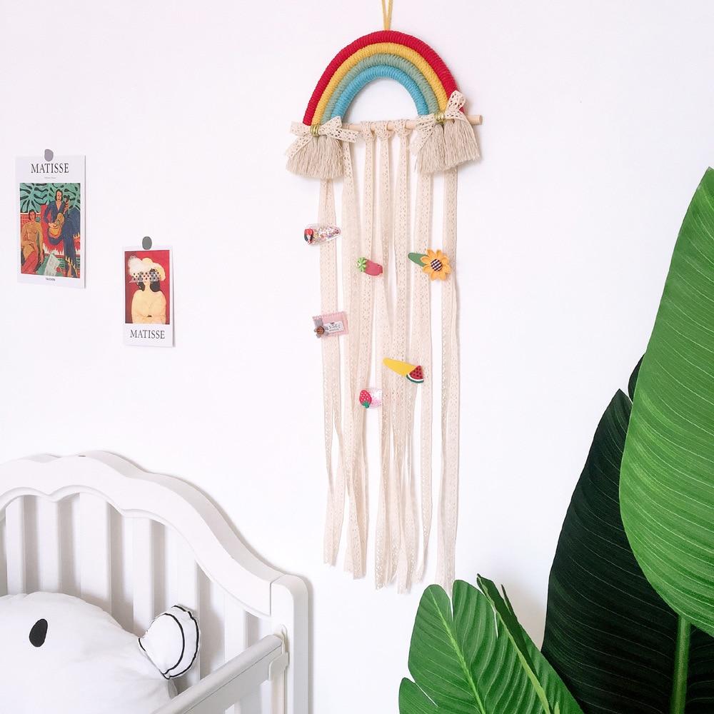 Радужный макраме, украшение в стиле бохо, гобелен, украшение для детской комнаты, макраме, держатель для банта, подвесные заколки для волос, вешалка
