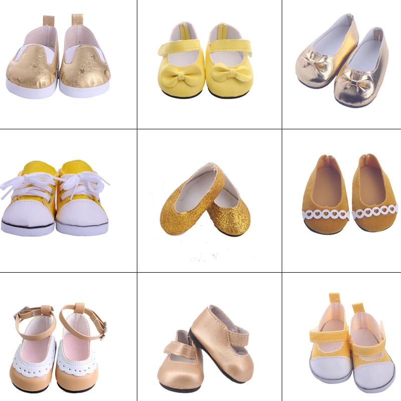 Muñeca de moda Zapatos amarillos serie plana adecuada 18 pulgadas muñeca americana y 43cm bebé nuevas muñecas, nuestras generaciones, regalos para niña