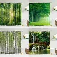 Rideau de douche de foret avec impression 3D  rideau de bain de paysage darbre vert avec crochets pour salle de bains  paysage impermeable moderne