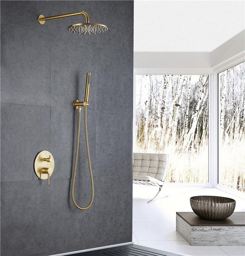مجموعة دش مثبتة على الحائط ، خلاط دش مطري ذهبي مصقول ، حمام بارد وساخن وحنفية حمام SUS 304