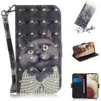 lovely patterned card slot wallet etui for samsung a12 2020 flip case pu leather 360 protect phone holder for galaxy a 12 case