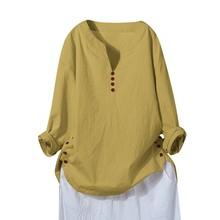 Blusa de mujer de manga larga de algodón de lino caftán señoras Camiseta holgada Tops M-5XL blusas de alta calidad niñas 731