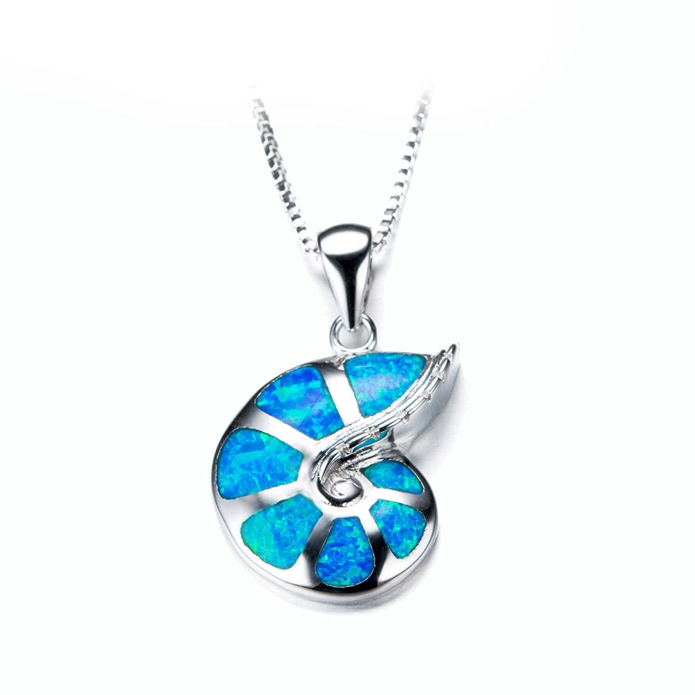 HAIMIS Shell Conch azul fuego ópalo plateado colgante para mujer