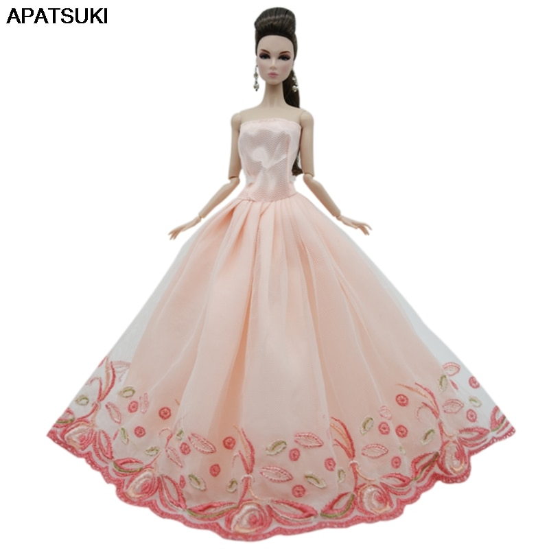 Light Pink Lace Wedding Dress For Barbie Doll Outfits Clothes Princess Party Gown For 1/6 BJD Dollhouse Accessories Toys