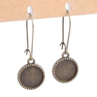 20pcs antique bronze 12mm cabochon earring dangle base setting blanks diy bezel accessories for earings making supplies