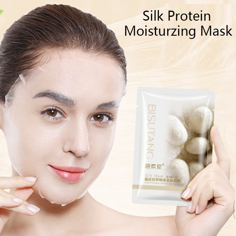 Silk Protein Moisturzing Mask Smooth Skin Care Elastic Moist Tender Plump Silky Face Leather Sheets Mask Oil-control Whitening