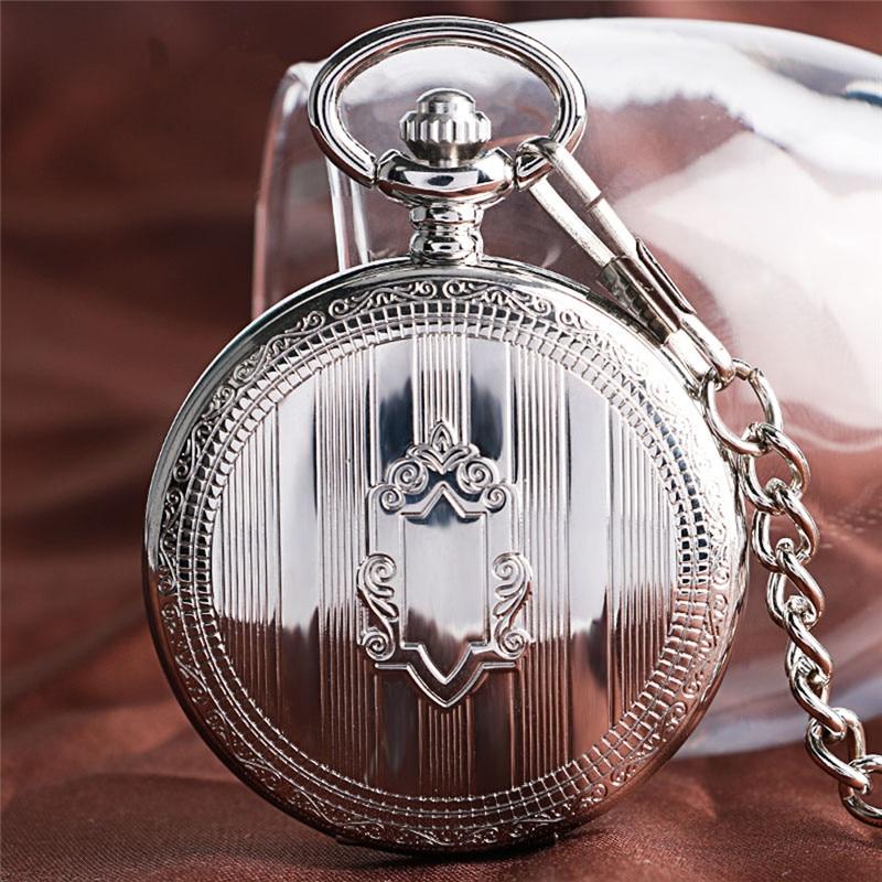 Silver Shield Full Hunter Case Men Women Skeleton Automatic Mechanical Pocket Watch Arabic Number Retro Clock Pendant Chain Gift