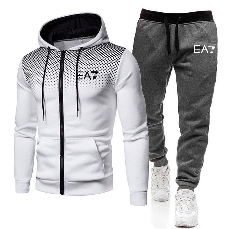 2021 moda nova marca de roupas masculinas terno de corrida terno de esportes com zíper com capuz + calças de 2 peças terno masculino spo