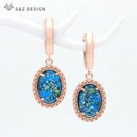 sz design korean fashion oval egg shape dangle earrings for women girl wedding jewelry 585 rose gold simple temperament eardrop