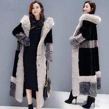 Fur one women's 2020 winter new Korean version of loose imitation lambs and velvet thickened knee long coat