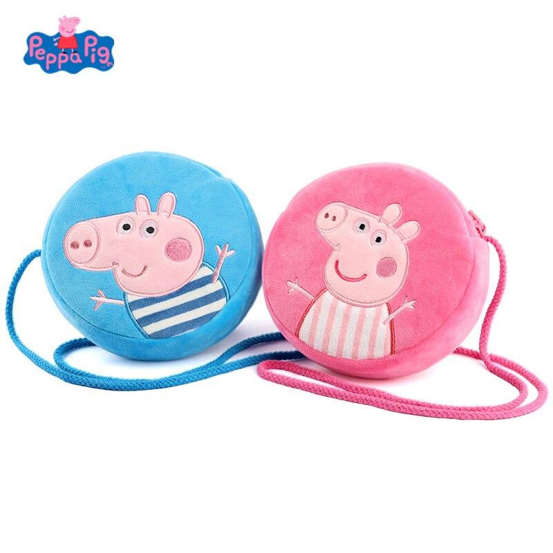 2020 nova original peppa pig moda tendência saco de pelúcia rosa porco george dos desenhos animados pequeno saco redondo carteira para a menina aniversário presentes natal