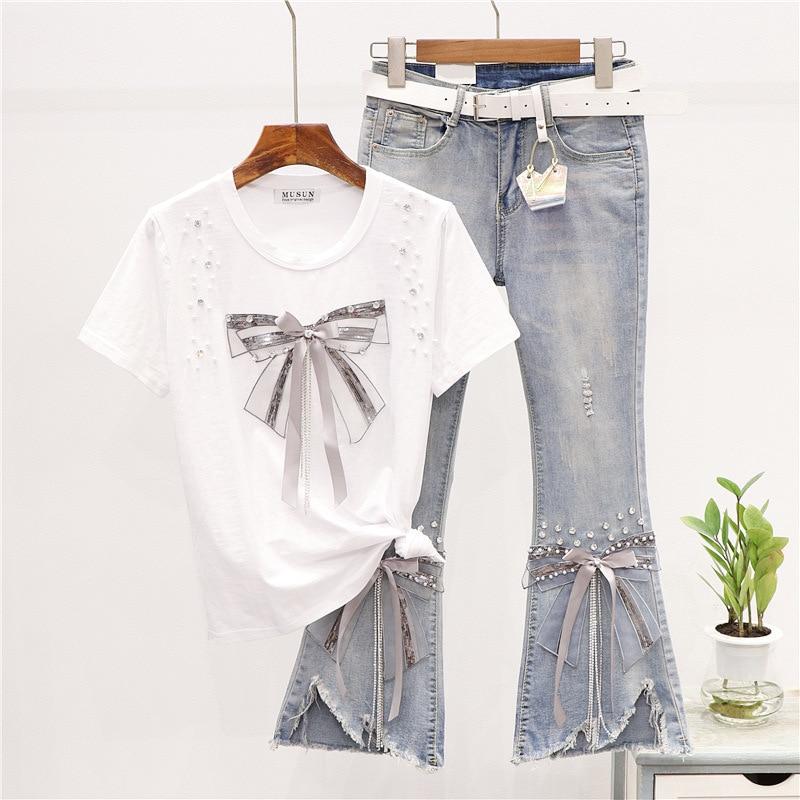 Conjunto de dos piezas de verano para mujer de camiseta con lazo...