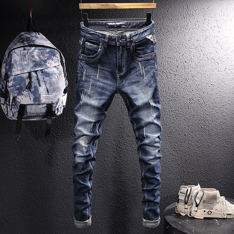 Европейские винтажные модные мужские джинсы, Ретро Черные синие зауженные рваные джинсы, мужские дизайнерские потертые повседневные джинс...