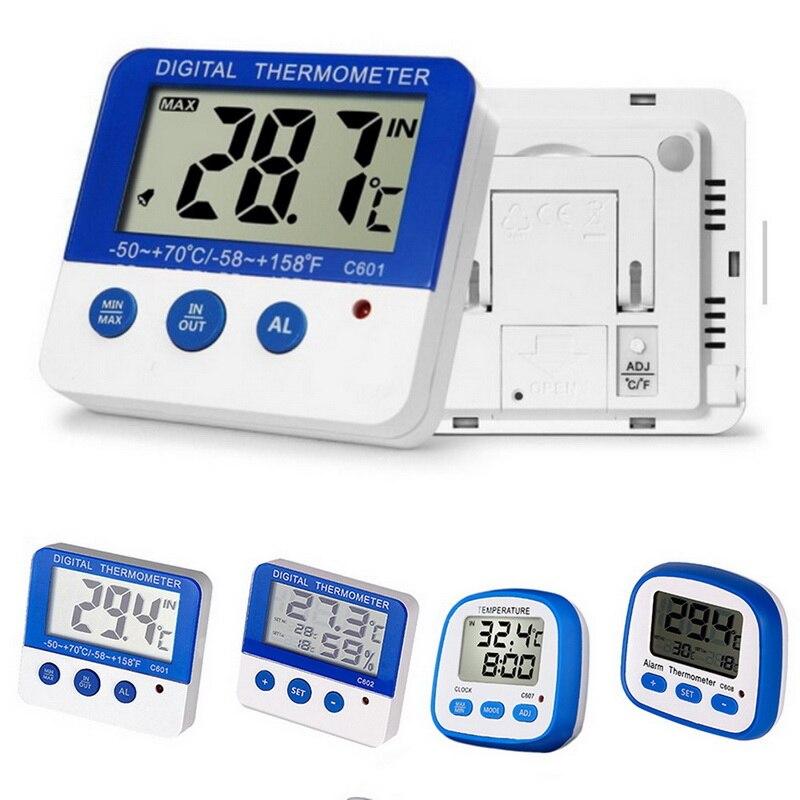 Nuevo termómetro higrómetro inalámbrico Digital para interiores y exteriores con pantalla LCD de reloj medidor de temperatura y humedad ^_^