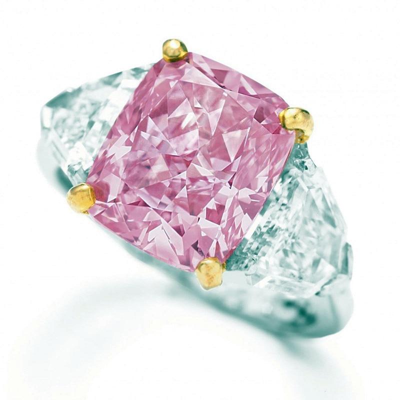 Bonito anillo con Piedra Rosa de princesa para mujer, bandas de boda de Color plateado a la moda, anillos de compromiso y amor para mujer