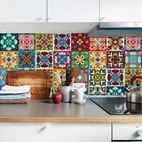 Autocollant Mural en PVC a motif colore  carreaux en ceramique  pour table  salle de bain  cuisine  decor de maison  sparadrap Mural impermeable