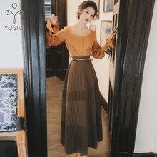 YOSIMI chemise jupe ensemble 2020 printemps à manches longues Blouse haut et rayé jupe ceintures longues robes Vintage femmes deux pièces tenues